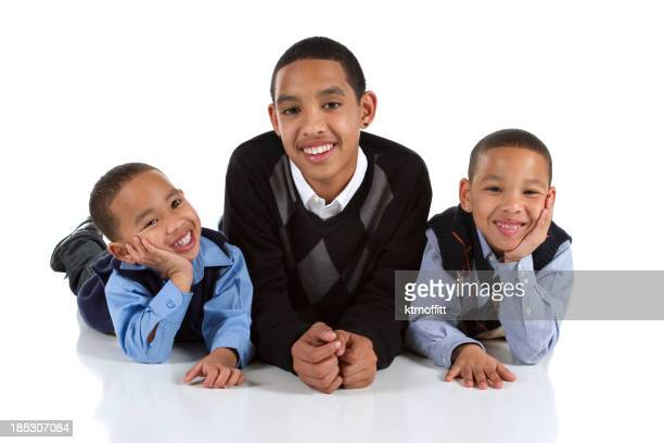 Three Happy Multiracial Brothers
