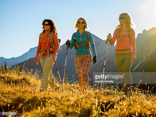 Three hiking friends traverse mountain meadow