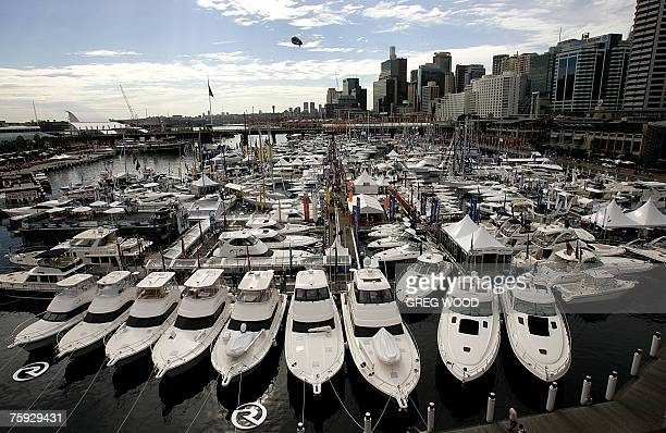 Three hundred large pleasure craft fill a specially built marina on Darling Harbour in Sydney on the opening day of the 40th International Boat Show...