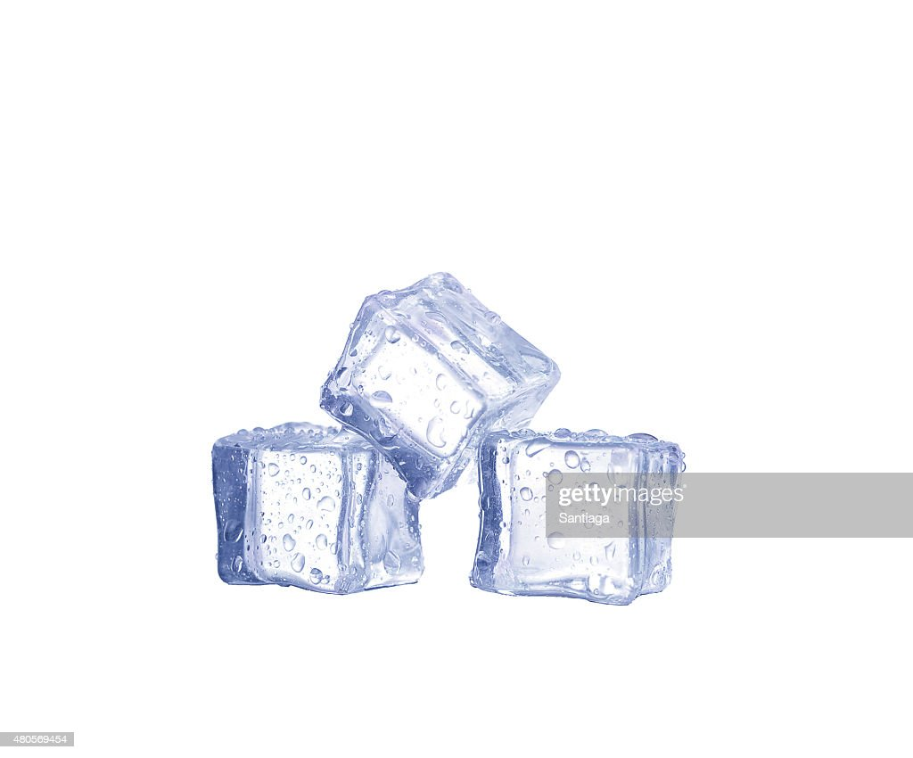 Three ice cubes on white background. : Stock Photo