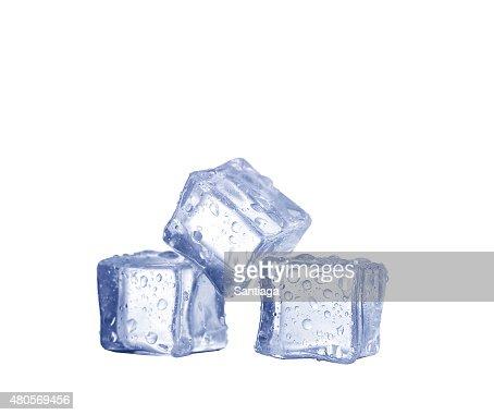 Three ice cubes on white background. : Stock Photo