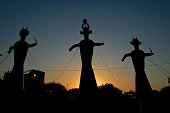 Three idols are setup up to be burned for the ravan dussehra festival. Vijayadashami also known as Dashahara, Dussehra, Dashain, Navratri or Durgotsav is one of the most important Hindu festivals cele