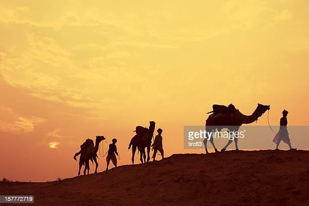 Tres India pasajeros de camello al atardecer