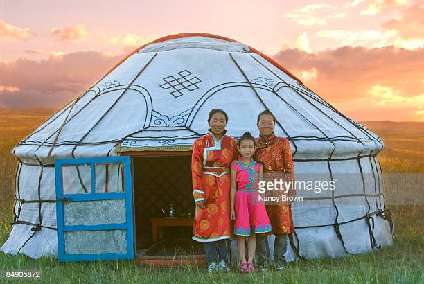 Three Inner Mongolian sisters infront of their Yur
