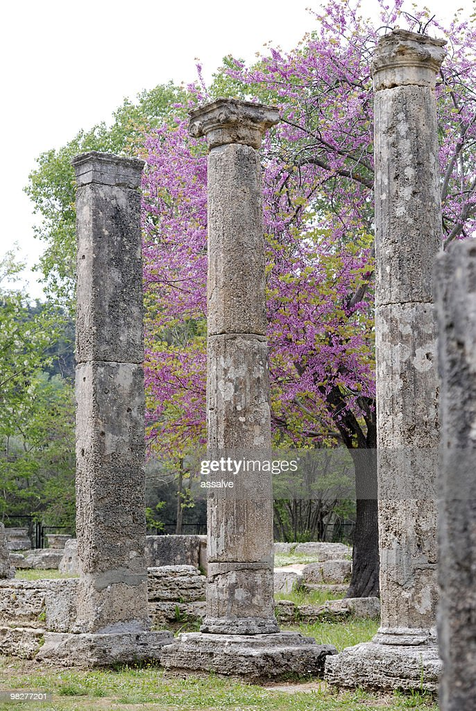 three ionic columns from Theokoleon at Ancient Olympia