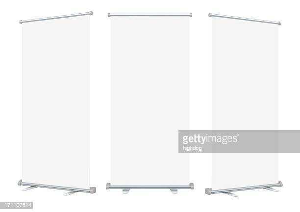 Three isolated blank roll up banner displays