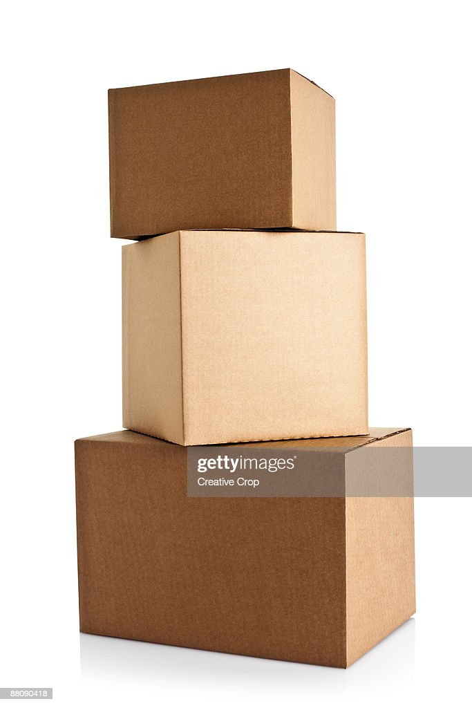 Three large cardboard boxes stacked : Stock Photo