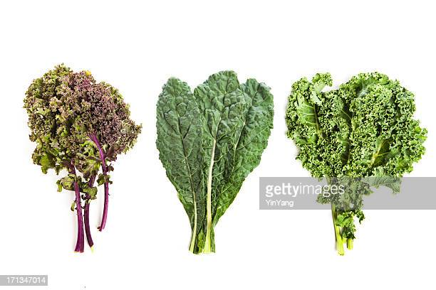 Three leafy kale plants