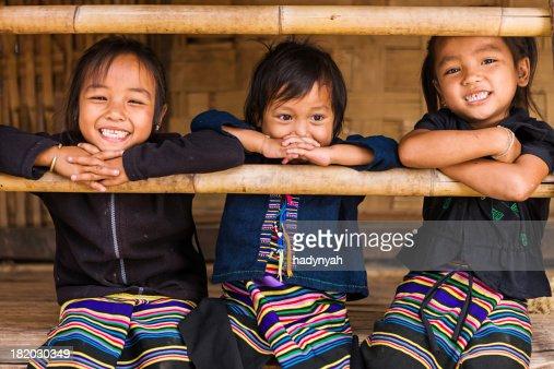 Three little girls in Northern Laos