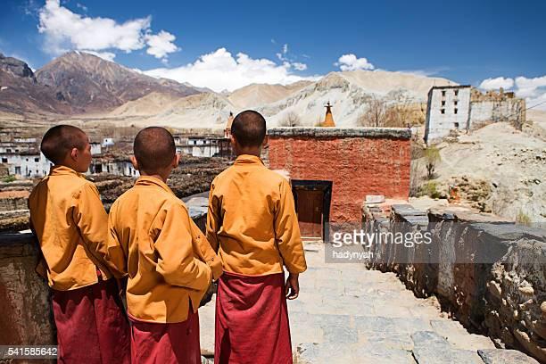 Three little Novice monks in Tibetan monastery, Upper Mustang