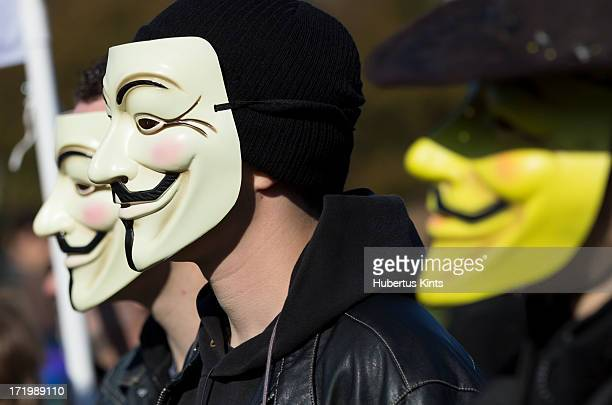CONTENT] Three masked members of Anonymous demonstrating during the Occupy protest on October 15 2011 in The Hague The Netherlands
