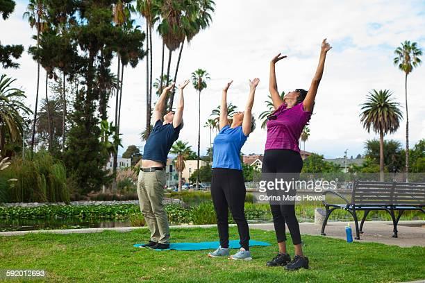 Three mature friends, exercising in park