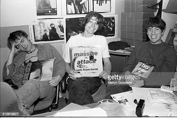 Three members of Blur pose in the NME offices while reviewing that week's single releases London 1991 LR are Damon Albarn Alex James and Graham Coxon...