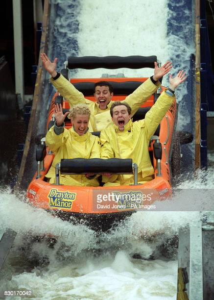 Three members of the Pop group Steps Faye Lee and 'H' at Drayton Manor Theme Park launching the new Stormforce 10 whiteknuckle lifeboat ride