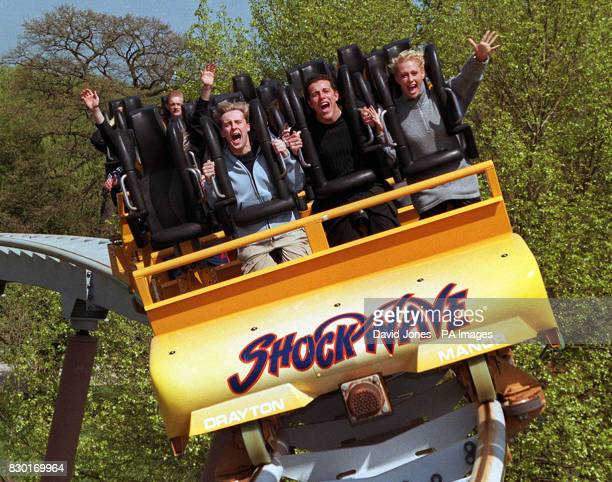 Three members of the Pop group Steps 'H' Lee and Faye on the Shockwave ride at Drayton Manor Theme Park near Birmingham where the group launched the...