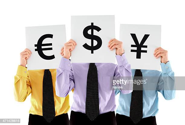 Three men holding currency signs