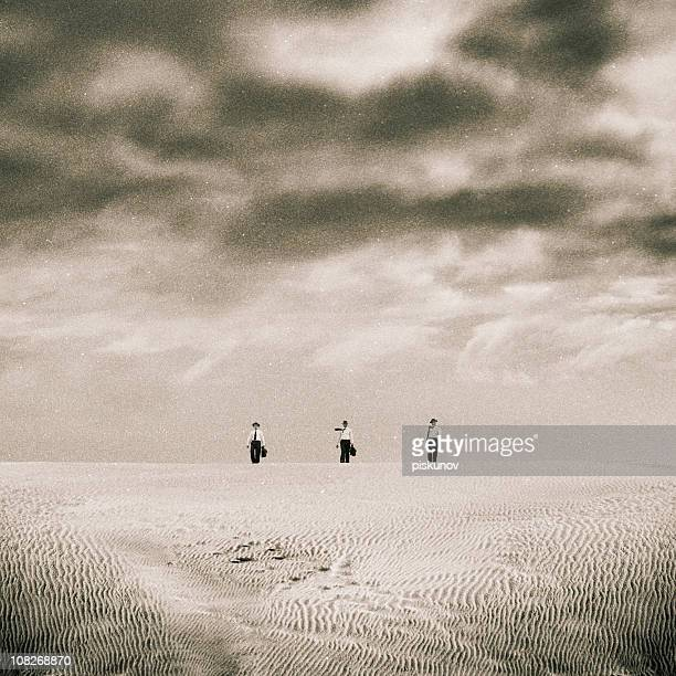 Three Men Standing on Sand Dune, Black and White