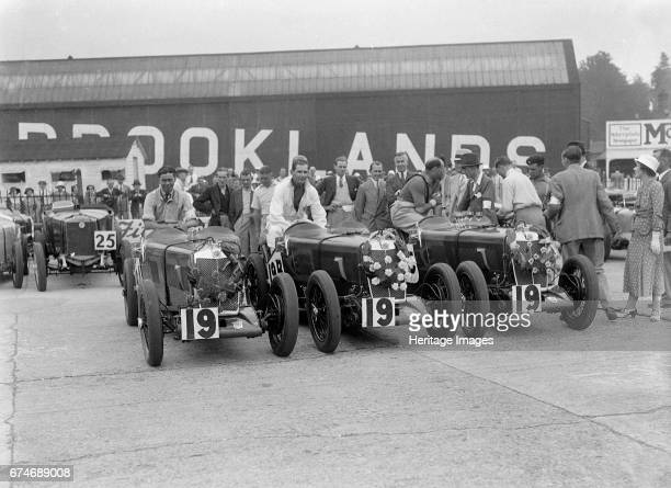 Three MG Magnas at the LCC Relay Grand Prix Brooklands Surrey 1933 Artist Bill Brunell