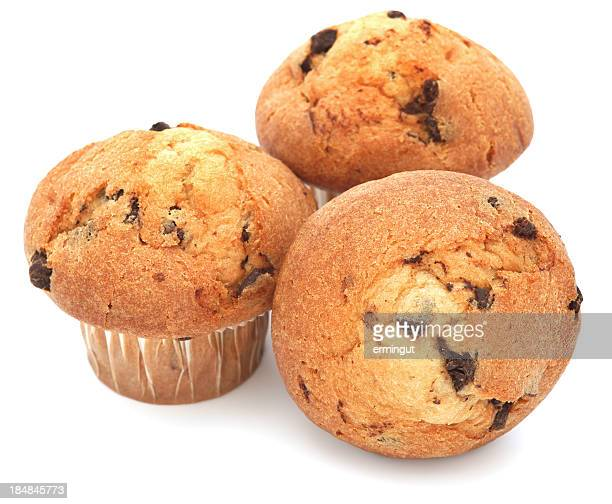 Three muffins on a white background