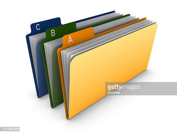Three Multicolored 3D Folders
