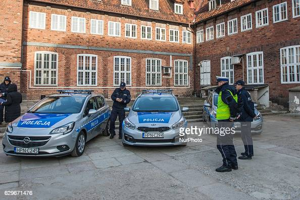 Three new cars and new drugs analyser start operating in Pomeranian Police in Gdansk Poland on 13 December 2016 Three Opel Corsa Police cars are seen...