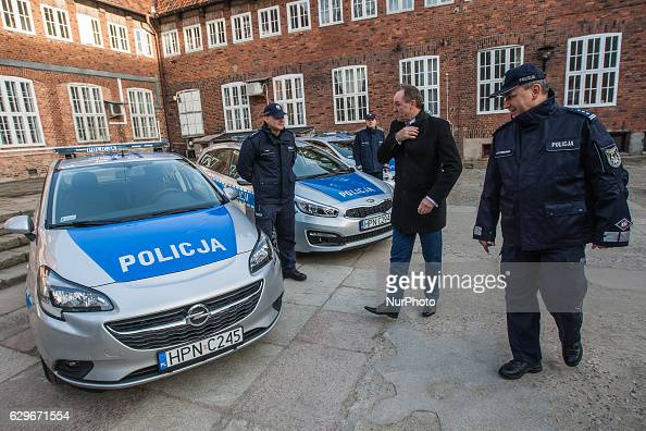 Three new cars and new drugs analyser start operating in Pomeranian Police in Gdansk Poland on 13 December 2016 Cars and laboratory machine was...