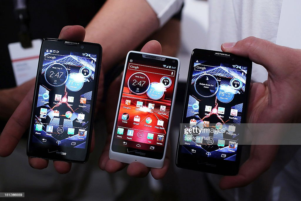 Three new Motorola Razr smartphones are displayed at the launch of the phones which are all under the Razr brand and will become available for Verizon customers on September 5, 2012 in New York City. The new phones, the Droid Razr HD, the Razr M and the Razr Maxx HD, will all use Google's Android operating system. Motorola Mobility was acquired by google in August of 2011.