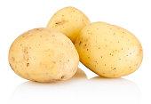 Three new potato isolated on a white background