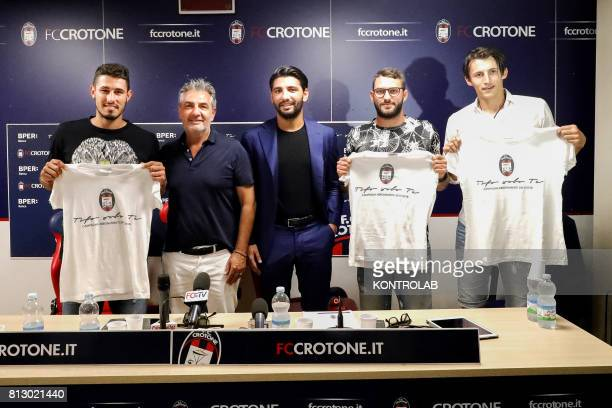 Three new purchases of Football Club Crotone from left Davide Faraoni defender GIanni and Raffaele Vrenna Oliver Kragl midfielder and Ante Budimir...