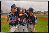Three New York Mets rookie infielders engage in some prepractice infighting 3/1 They are from left to right Kevin Elster Keith Miller and Gregg...