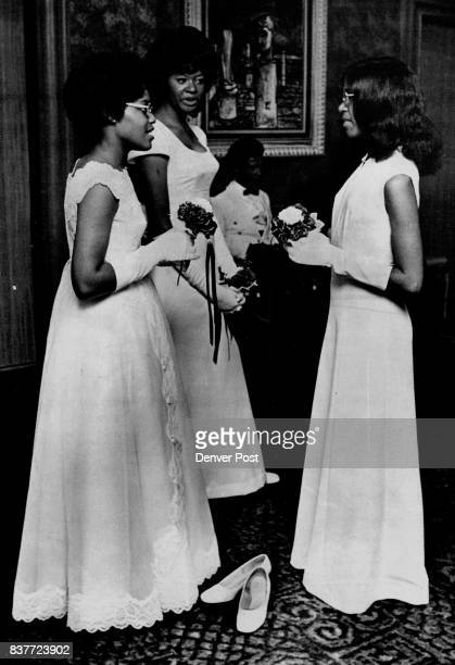 Three Of 30 Owl Club Debutantes At Ball Saturday Left to right Jocqueline Kelley Helen Littlejohn and Gloria Jean West in Grand Ballroom of Denver...