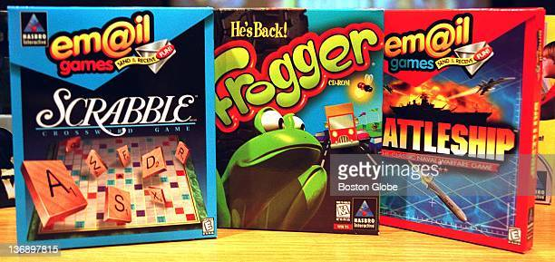 Three of the 85 titles of Hasbro Interactive's computer video game entertainment are Scrabble Frogger and Battleship
