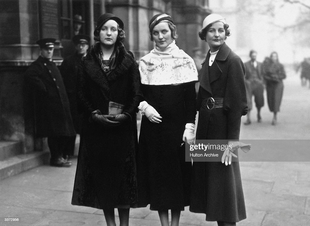 Three of the Mitford sisters at Lord Stanley of Aldernay's wedding From left to right Unity Mitford Diana Mitford and writer Nancy Mitford