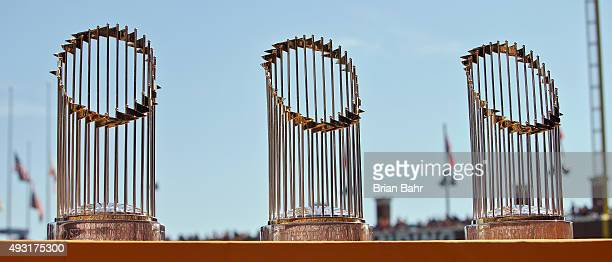 Three of the San Francisco Giants World Series trophies sit on display during a retirement ceremony for pitcher Jeremy Affeldt before a game against...