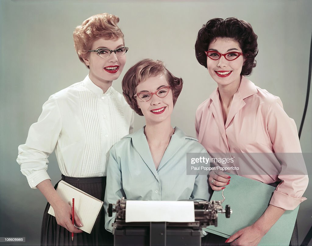 Three office workers in cat's eye spectacles 1958