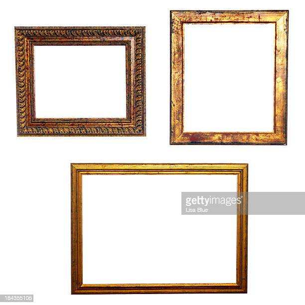 Three Old Golden Frames Isolated