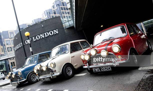 Three original 1960's mini coopers used by Paramount Pictures to promote the 1969 film The Italian Job which will go on show at the Museum Of London...