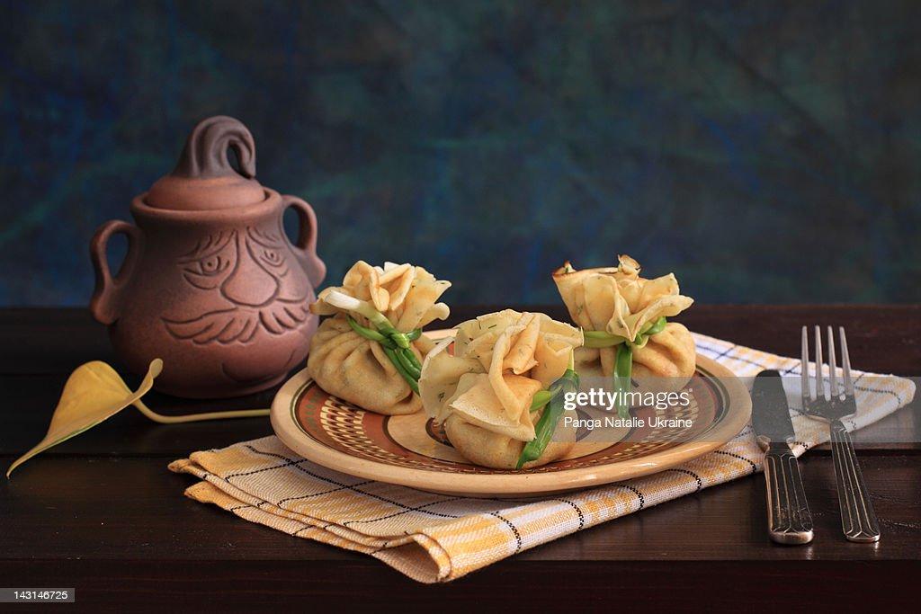 Three pancake bags : Stock Photo