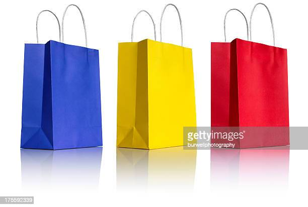 Three Paper Shopping Bags on white, 3/4 view