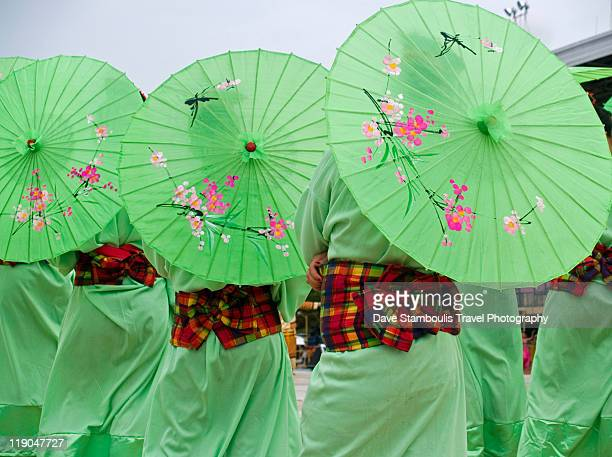Three parasols in row