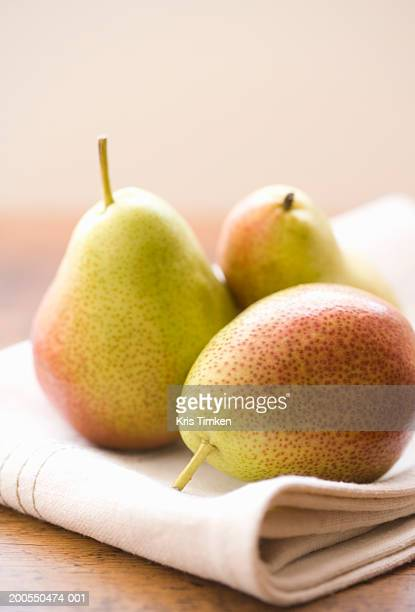 Three pears (focus on pear in foreground)