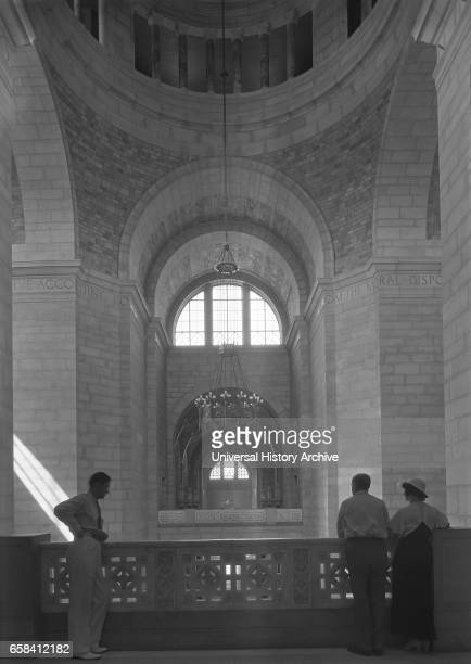 Three People in Shadow on Rotunda Balcony State Capitol Building Lincoln Nebraska USA by Samuel H Gottscho June 1934