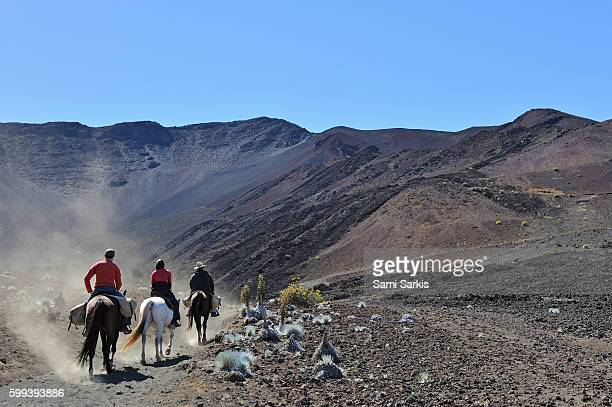 Three people riding horses in the Haleakala crater, Maui Island, Hawaii Islands, USA