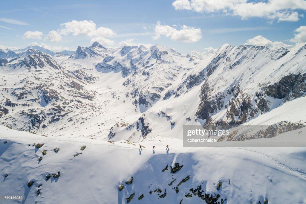 Three people ski touring, Sportgastein, Gastein, Salzburg, Austria : Stock Photo
