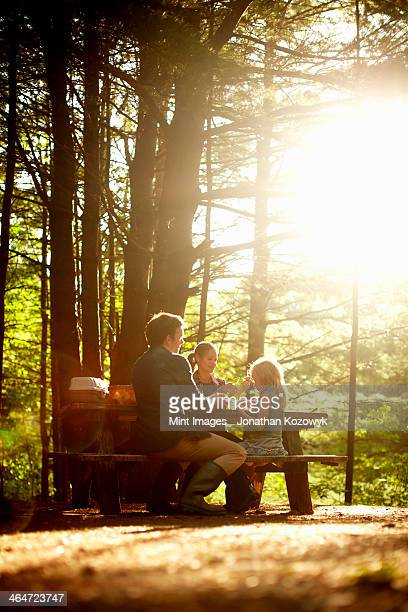 Three people,a family sitting at a picnic table under trees,in the late afternoon.
