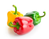 three peppers isolated on white background, clipping path included