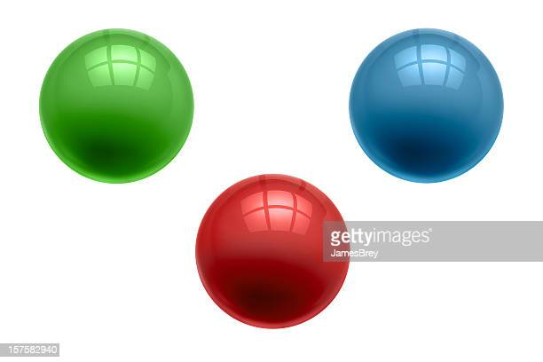 Three Perfect Marbles, Glass Balls, Green, Red, Blue, Clipping Path