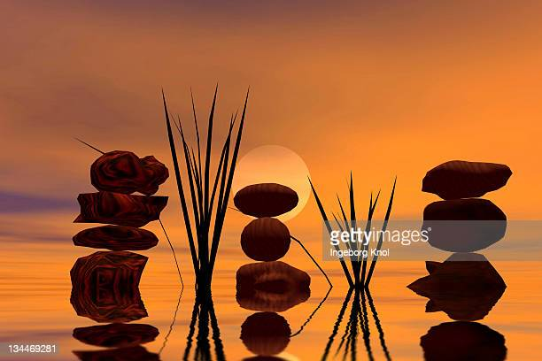 Three piles of stones at sunset, 3D graphics