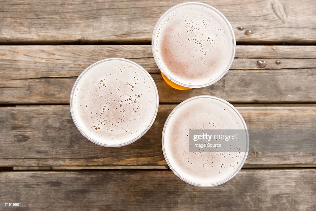 Three pints of lager