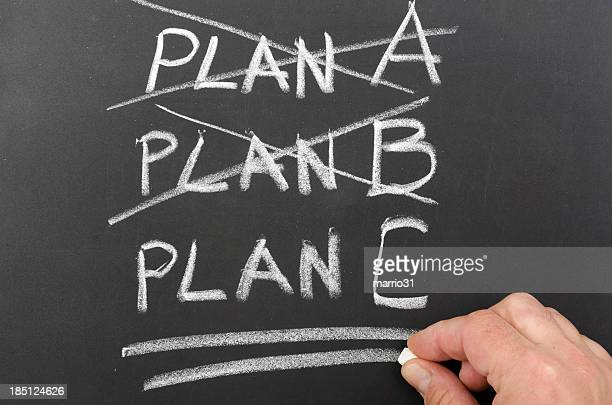 Three plans written on a chalkboard with two crossed out